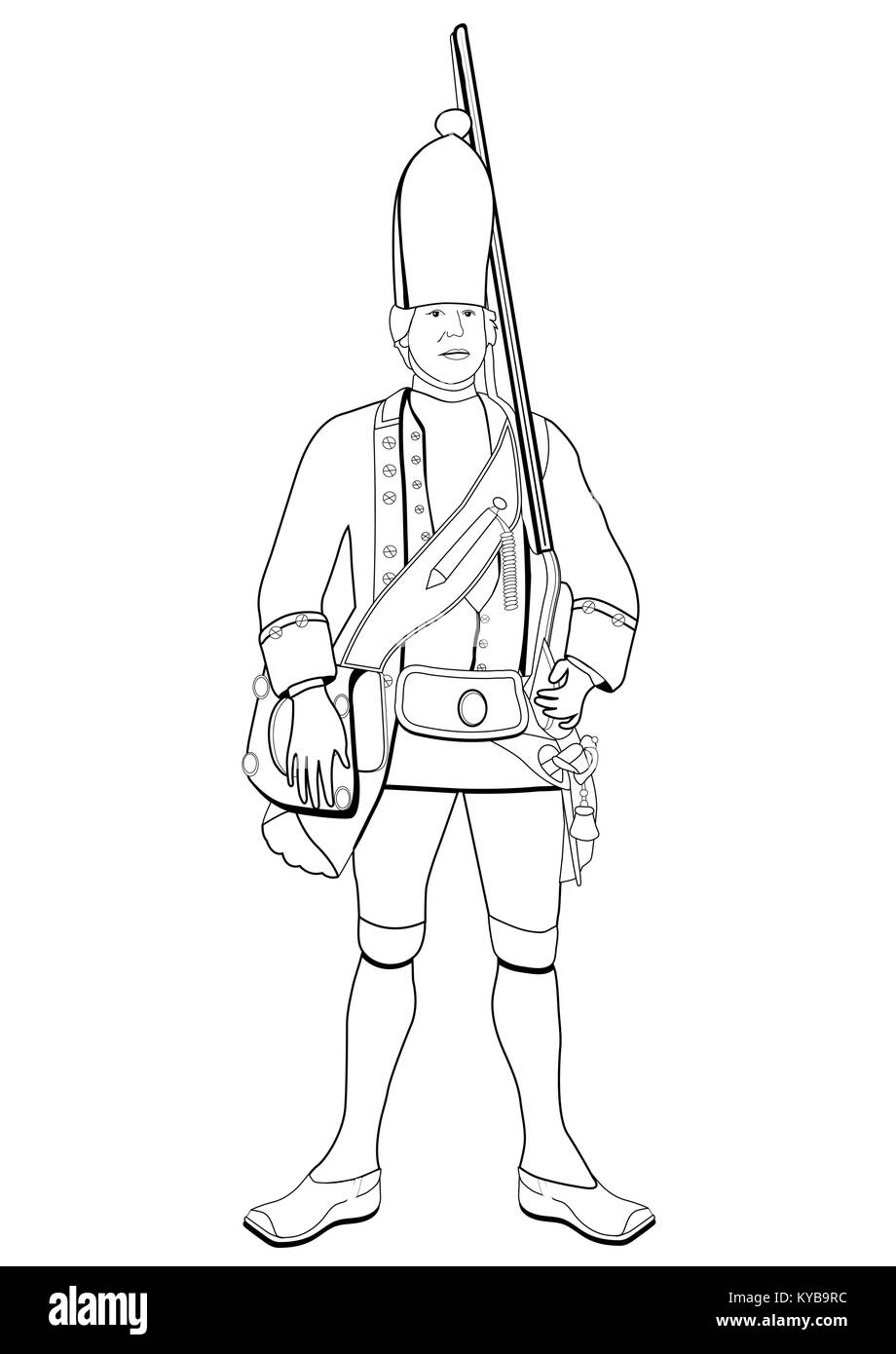 Grenadier, vector coloring drawing. Soldier dressed in military old uniform with a gun on his shoulder, sketch, - Stock Vector