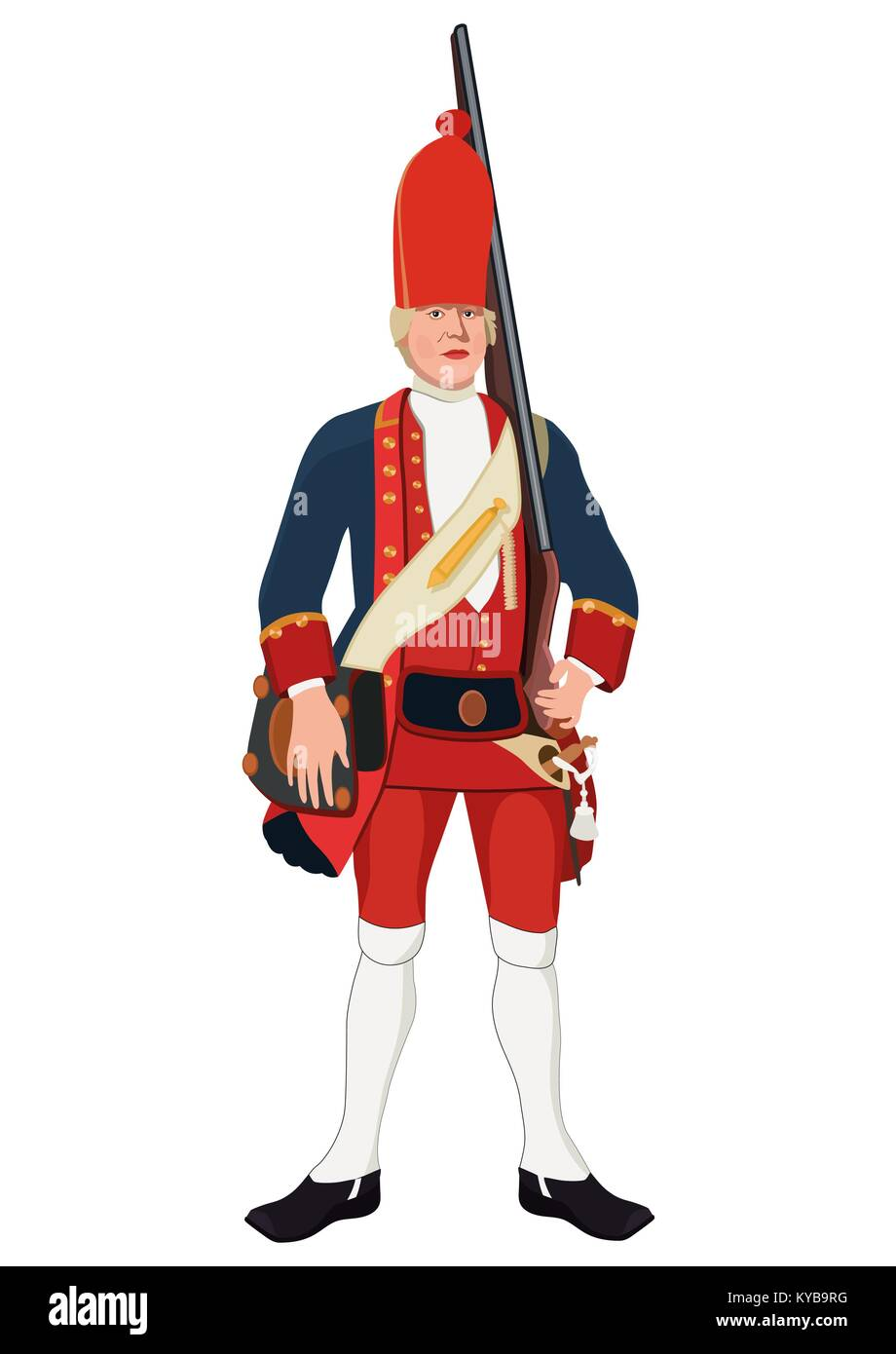 Grenadier, vector drawing. Soldier dressed in military old uniform with a gun on his shoulder, painted portrait. - Stock Vector