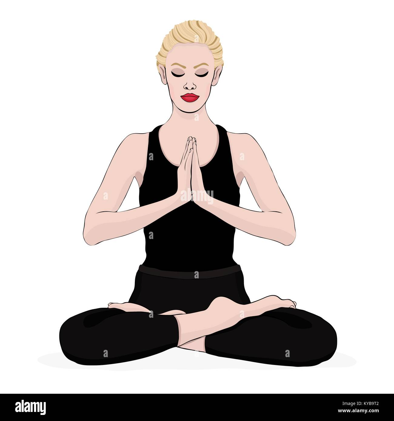 Yoga Pose Woman Meditating In A Lotus Vector Multicolored Drawing Portrait Meditation Relaxation Cartoon Girl Sitting Cross Legged And Hands Clasped