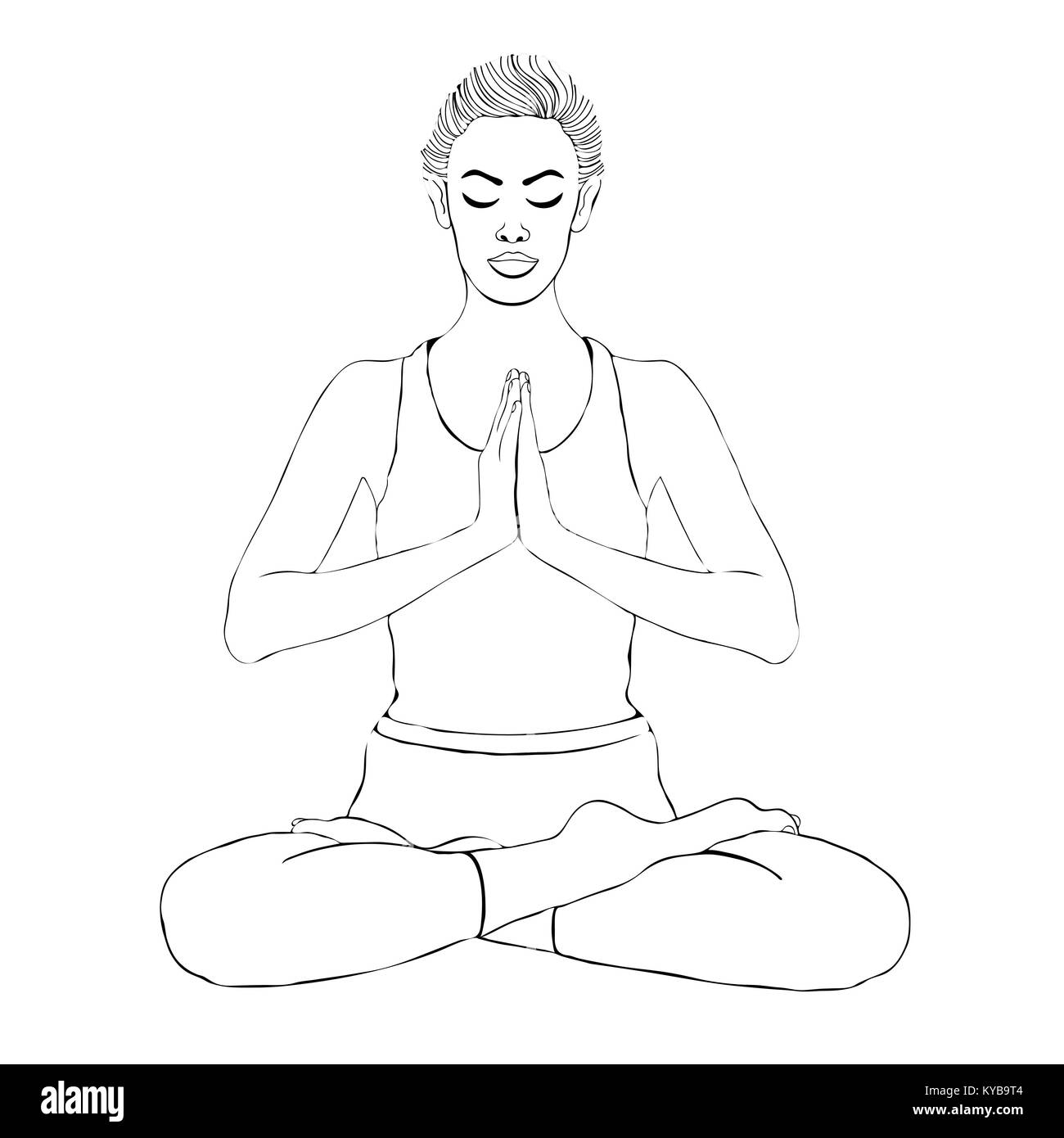 Sketch Yoga Woman High Resolution Stock Photography And Images Alamy