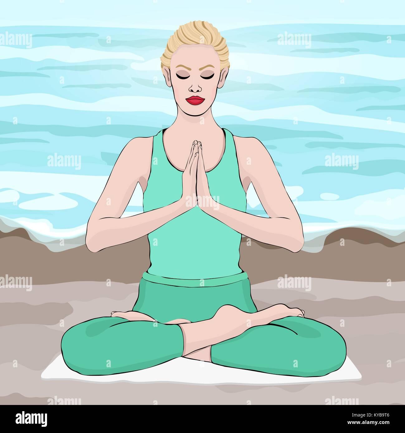 Yoga pose, woman meditating in a lotus pose, vector drawing