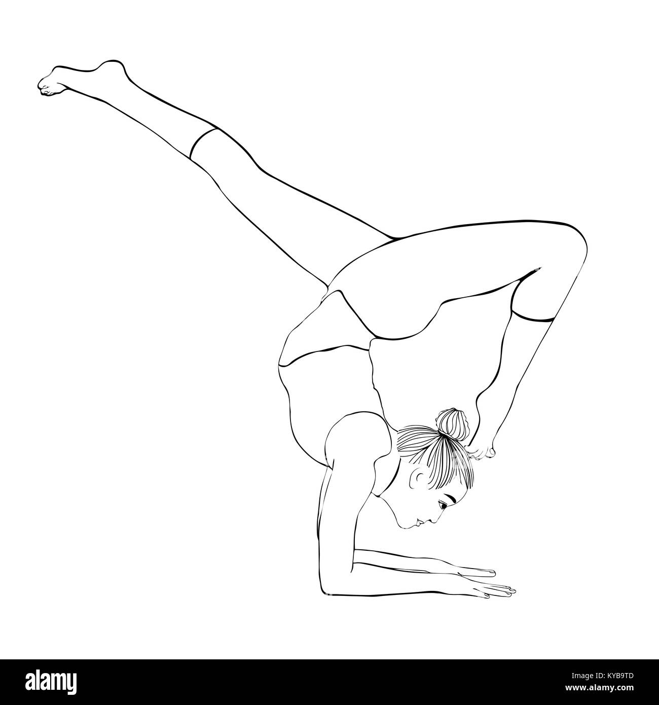 Yoga Pose Woman Handstand Vector Coloring Drawing Portrait Meditation Is Engaged In Gymnastic Girl Makes A Stand On The Hands Outline Black And White