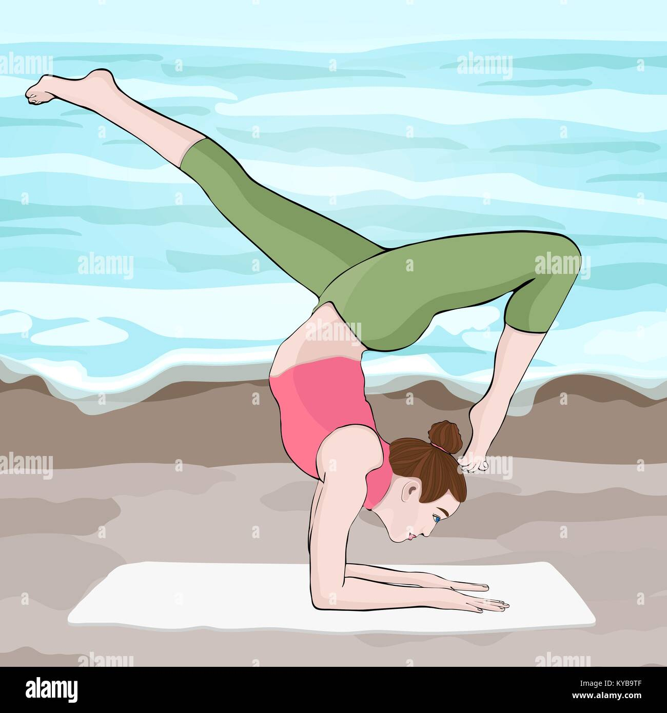 Yoga Pose Woman Handstand Vector Multicolored Drawing Portrait Stock Vector Image Art Alamy