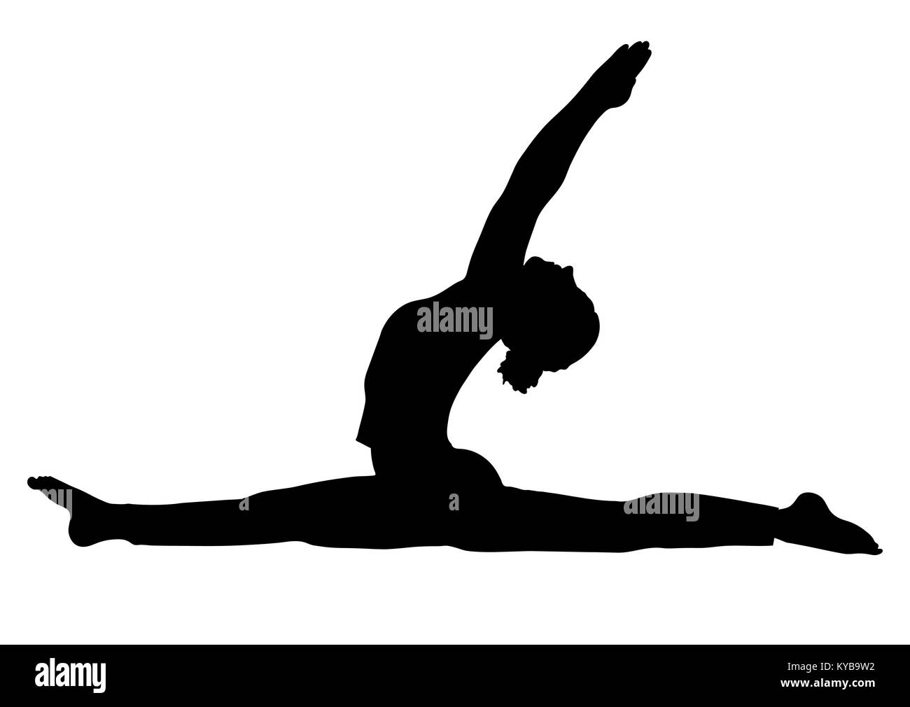 Yoga pose, woman to do the splits silhouette, vector outline portrait, gymnast figure, black and white contour outline - Stock Vector