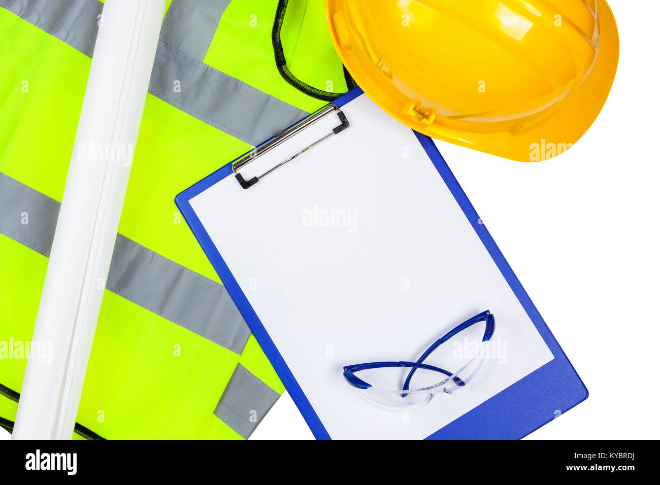 Yellow hi vis safety vest and hard hat with glasses and a clipboard with copyspace Stock Photo