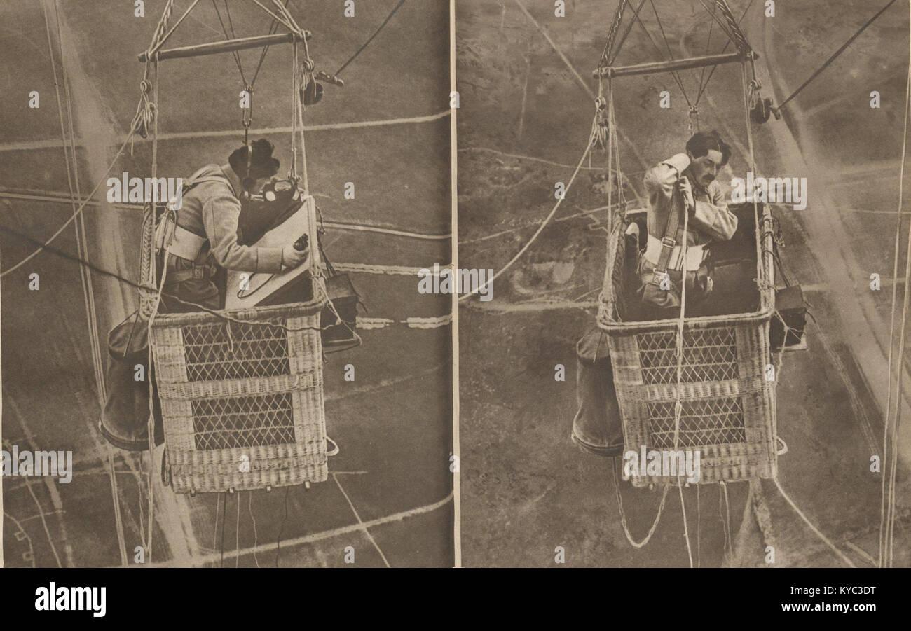 Observateur aérien militaire sous ballon captif en 1917 - Stock Image