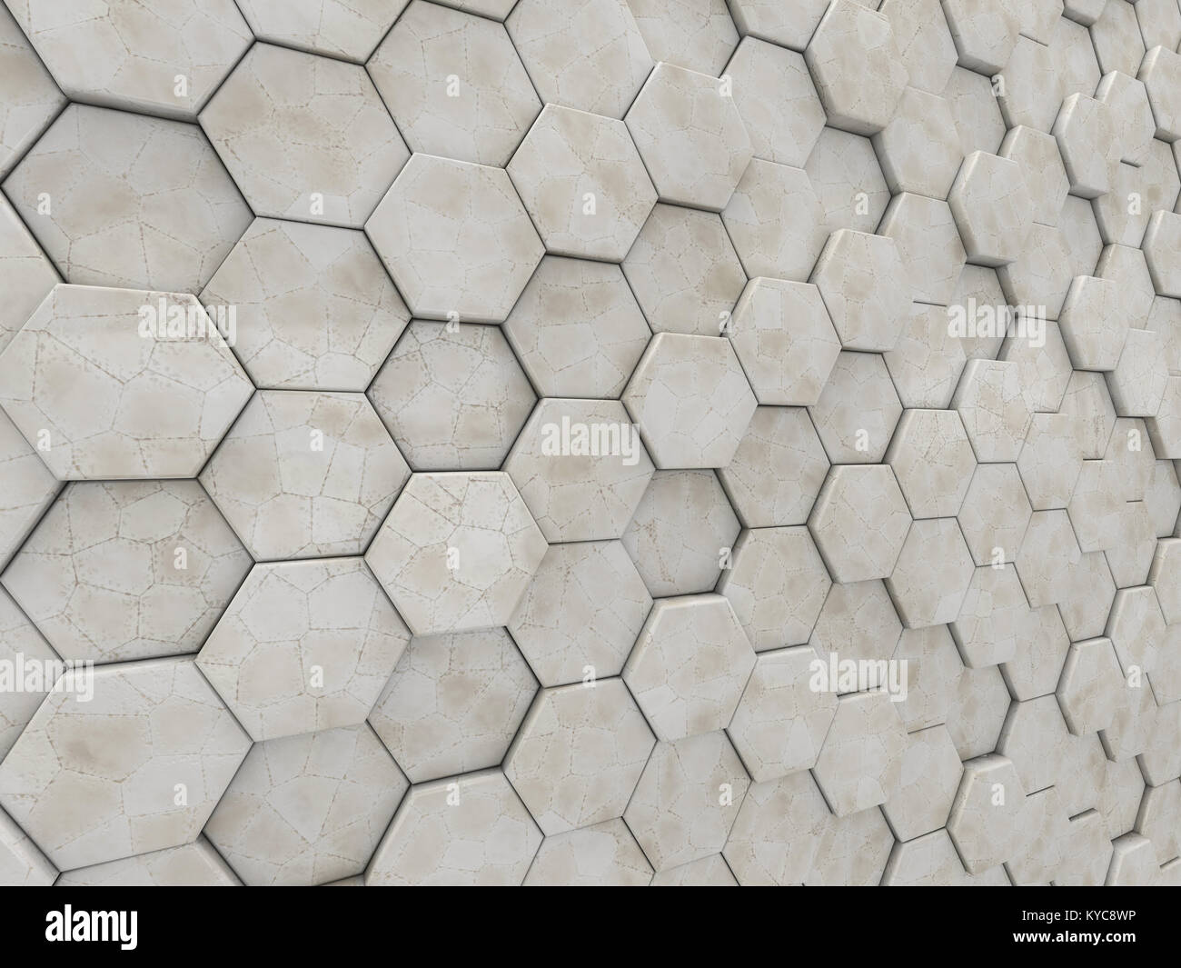 Abstract marble geometric background from Hexahedrons. 3D rendering - Stock Image