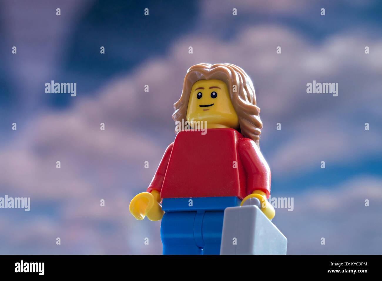 Lego tourist mini-figure - Stock Image