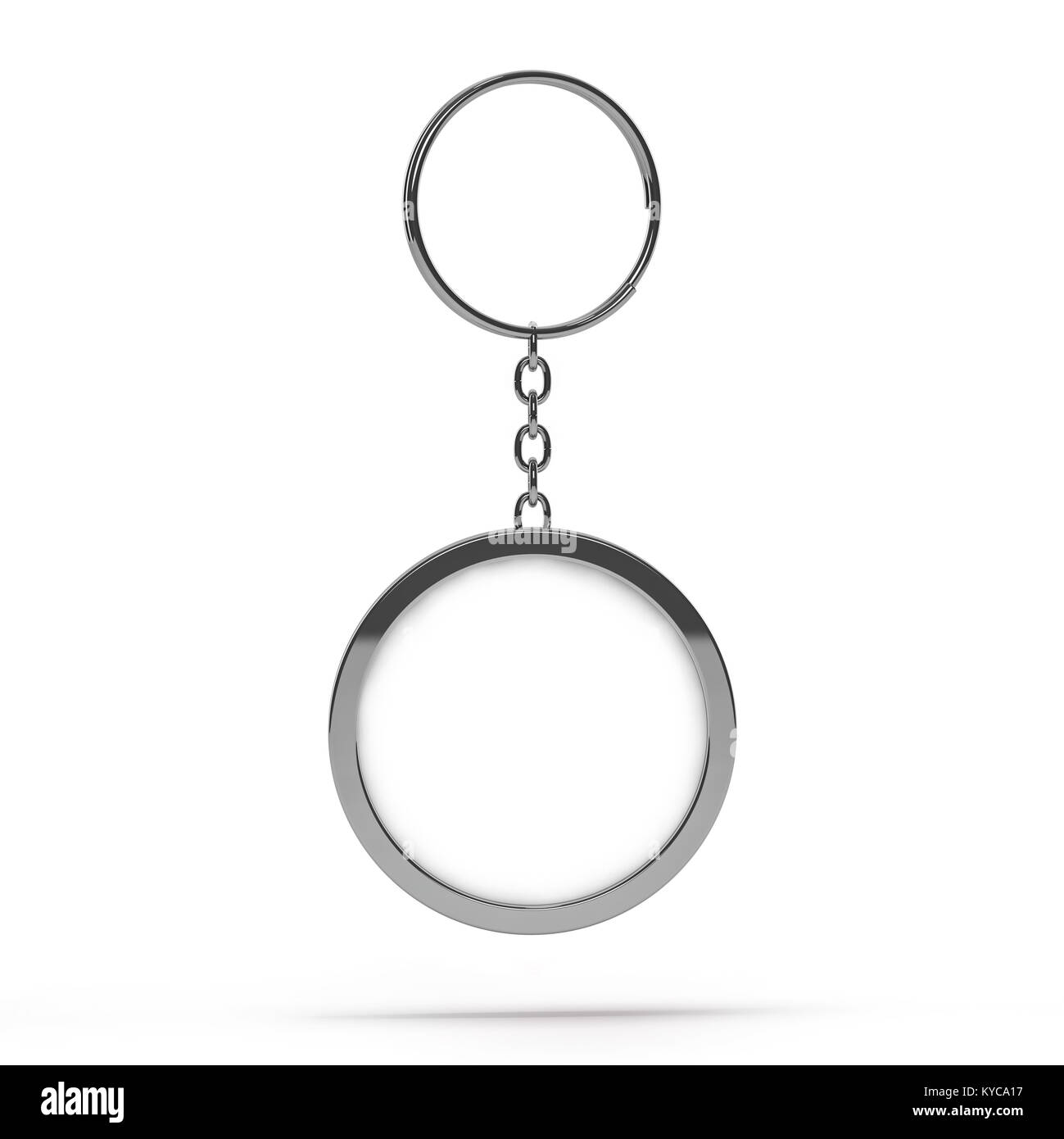 3D rendering illustration of a blank metal keychain with a