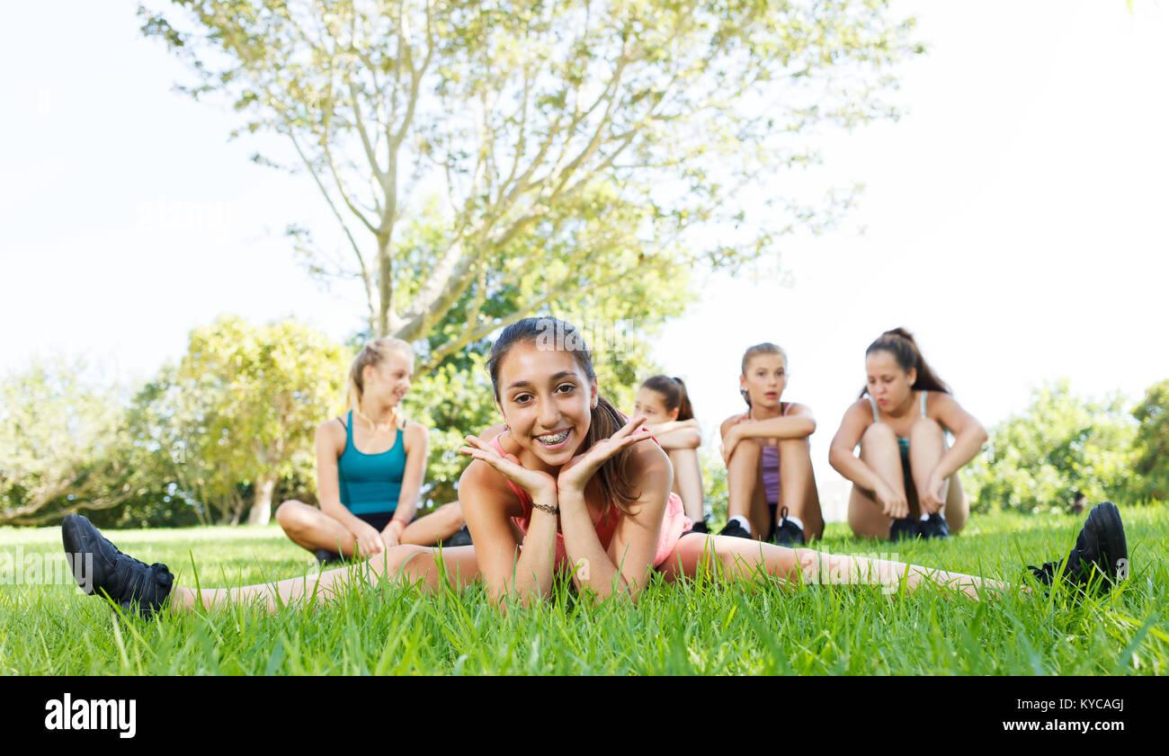 Group of teenage girls having fun outside - Stock Image