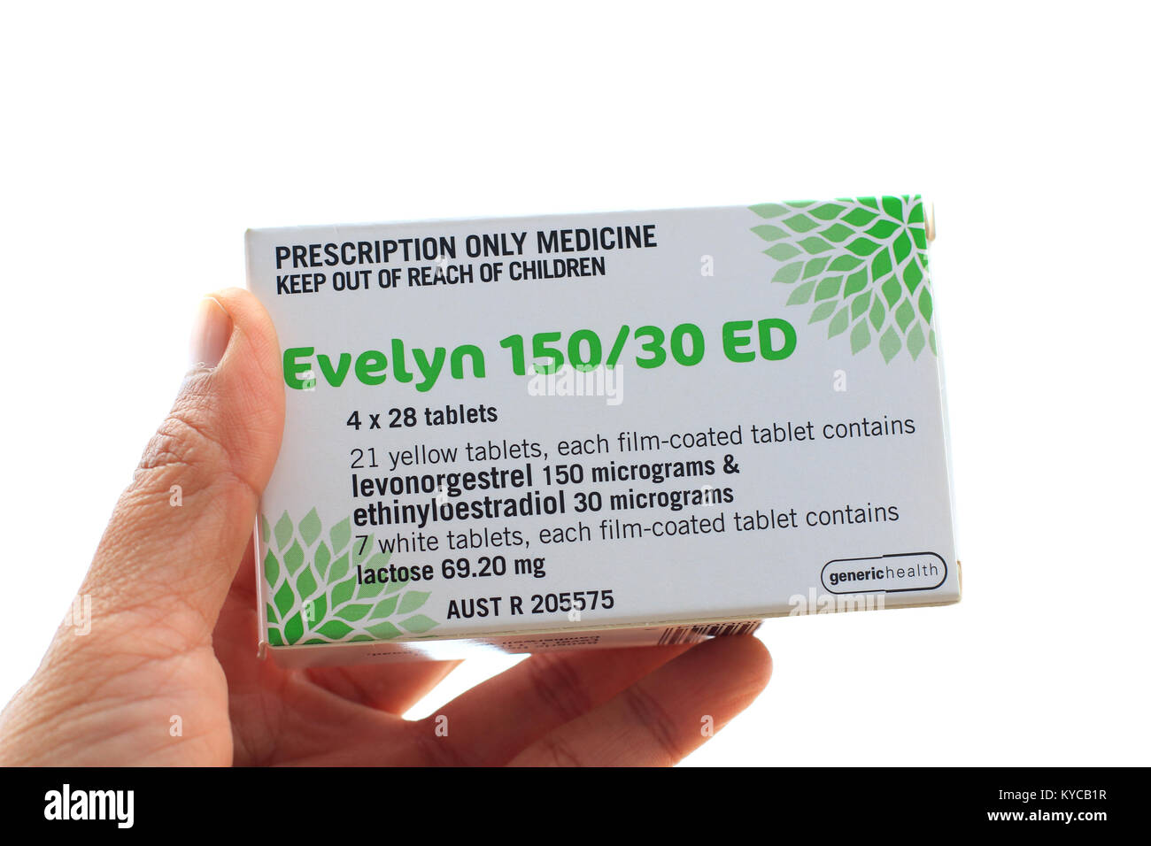 Hand holding Evelyn 150/30 ED Tablets isolated - Stock Image