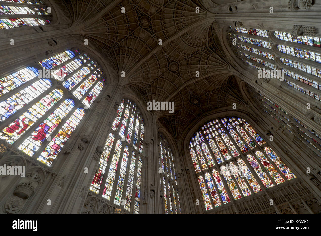 Fan vault ceiling and stained glass of Kings College chapel at the University of Cambridge, England - Stock Image