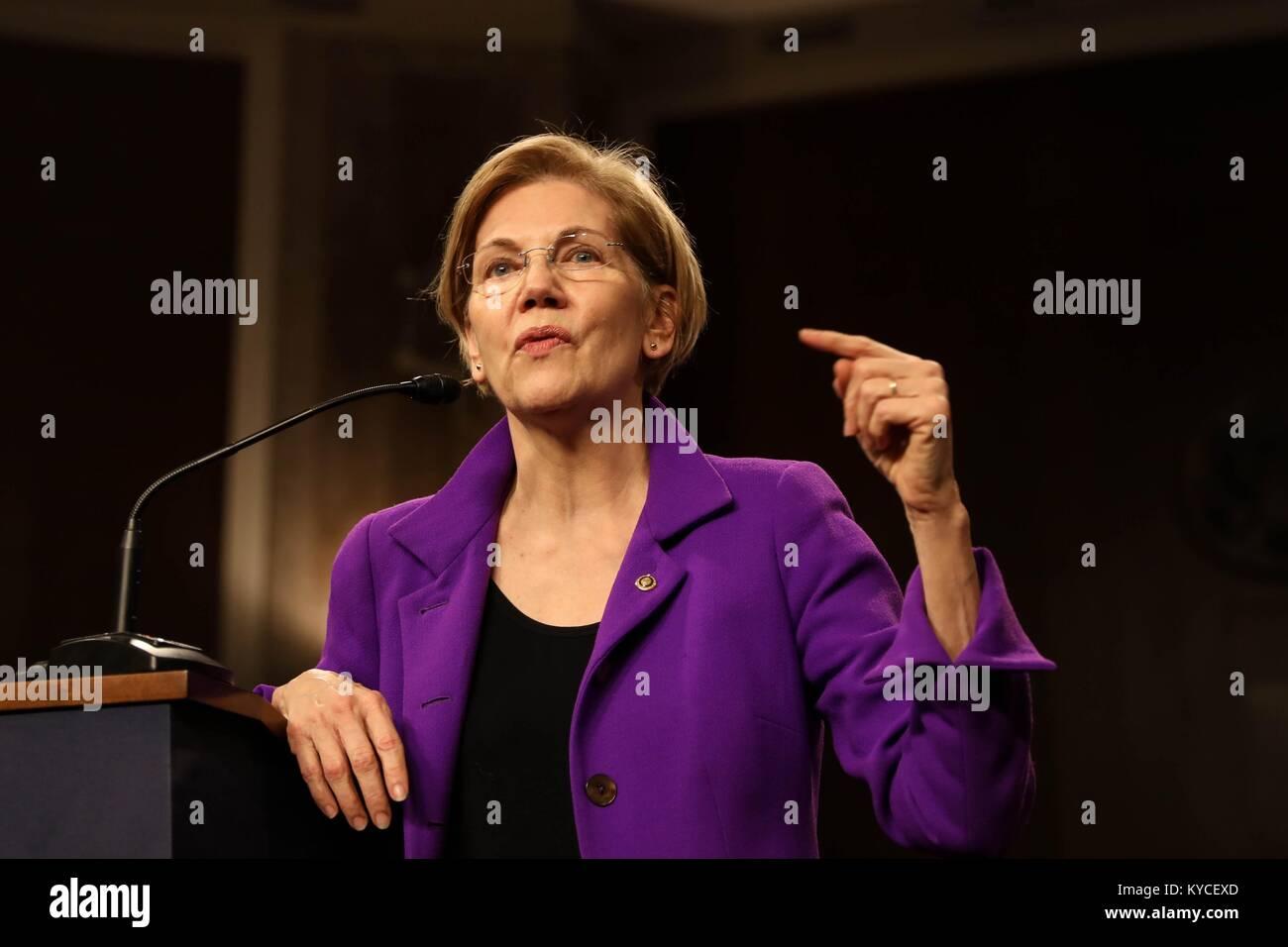 U.S. Senator Elizabeth Warren of Massachusetts speaks during the Senate Diversity Initiative Winter Social event Stock Photo