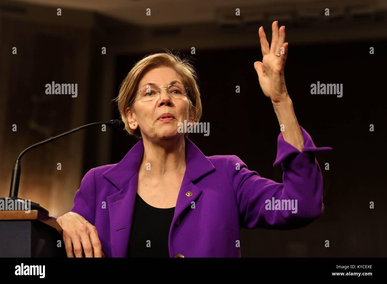 U.S. Senator Elizabeth Warren of Massachusetts speaks during the Senate Diversity Initiative Winter Social event Stock Photo