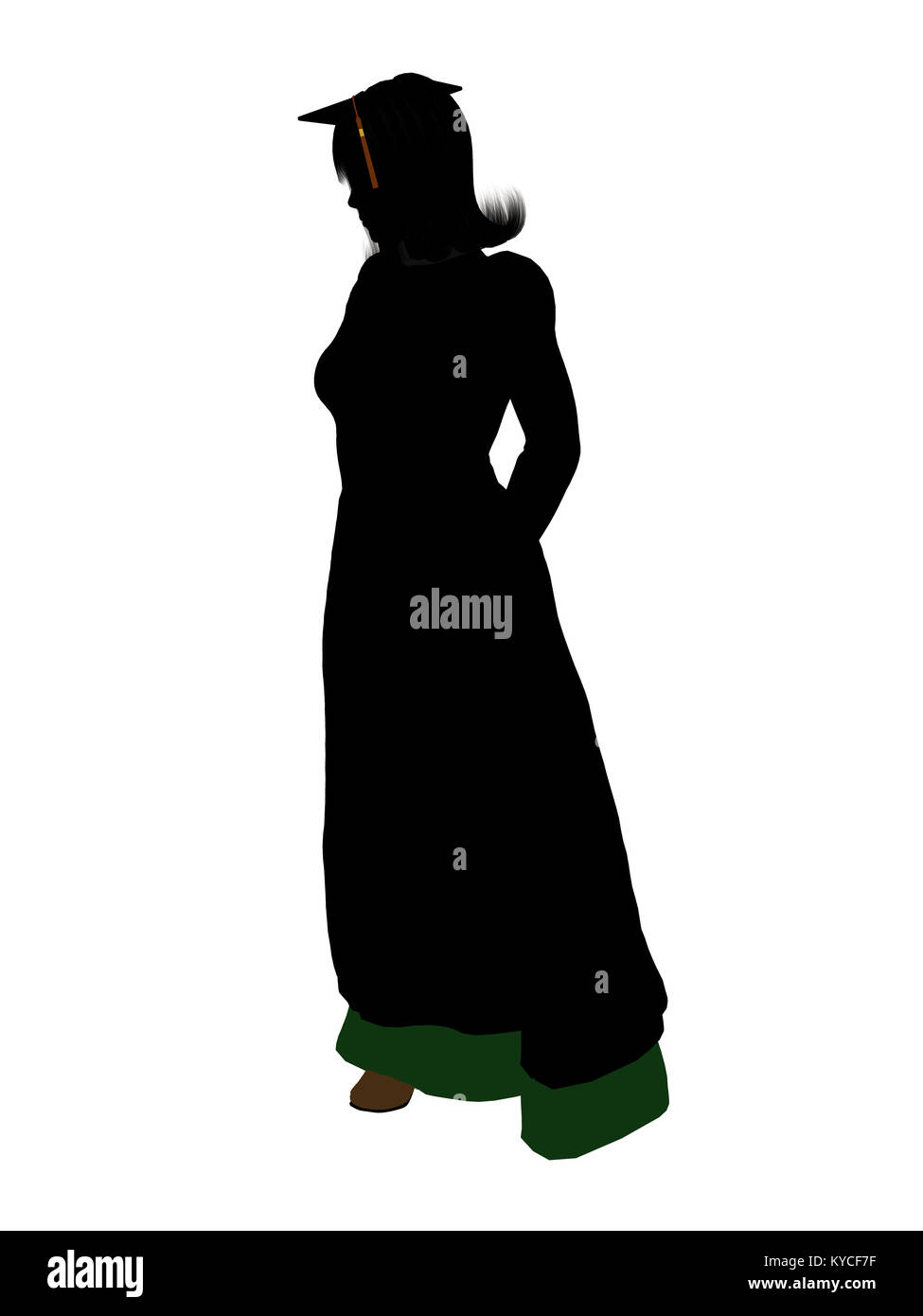 Graduate silhouette on a white background - Stock Image