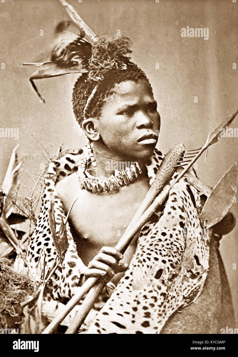 A Zulu Warrior, Victorian period - Stock Image