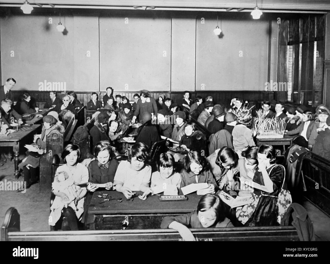 Children at a 'Cripples Guild' meeting, probably 1930s - Stock Image