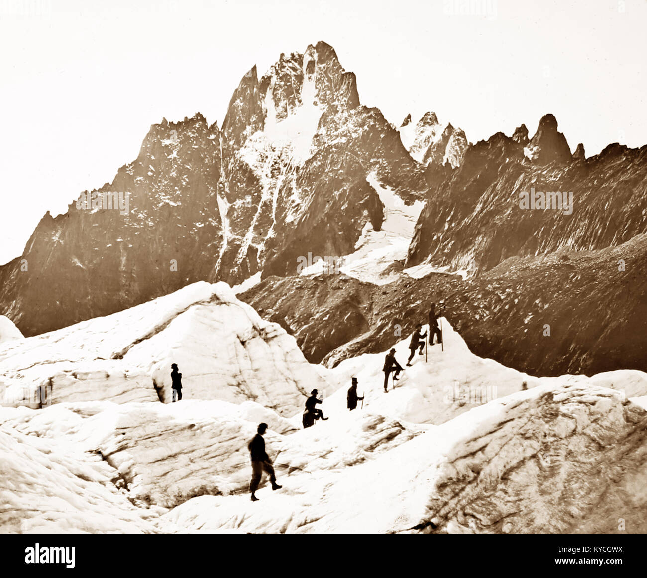 Mer de Glace, Mont Blanc, Victorian period Stock Photo