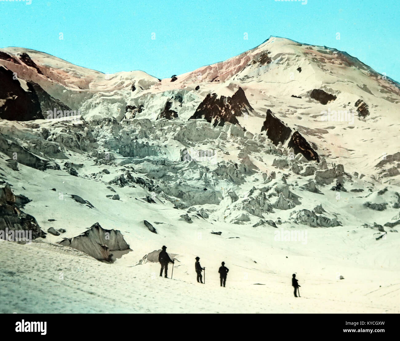 Climbers on Mont Blanc, Victorian period, hand coloured photo - Stock Image