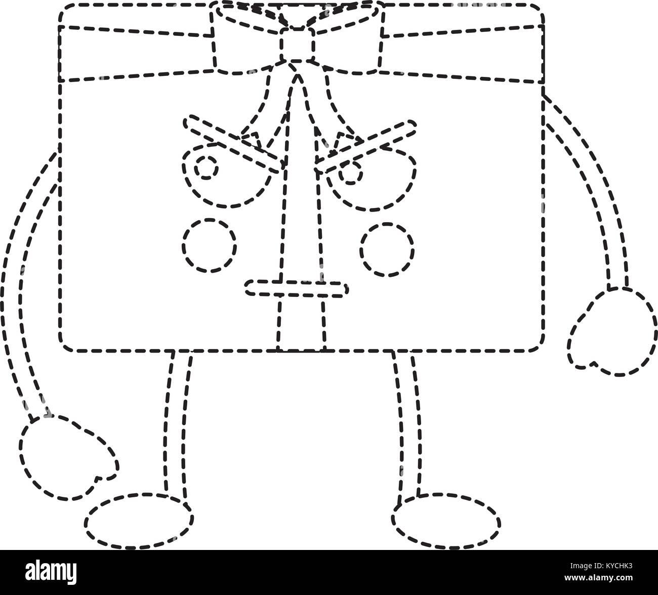 kawaii present cartoon angry facial expression - Stock Image