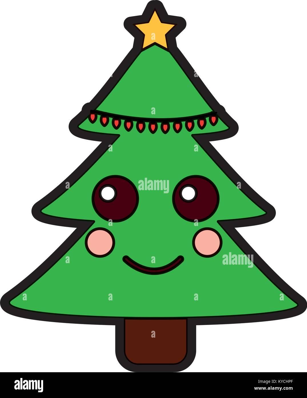 Cartoon Christmas Tree.Christmas Tree Kawaii Cartoon Smiling Stock Vector Art