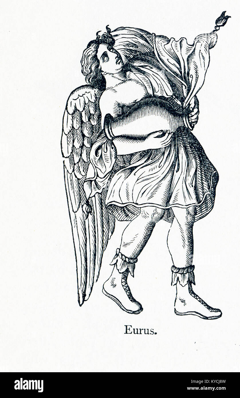 The figure pictured here, according to Greek mythology, is Eurus, or Euros, the god of the east wind. The folds - Stock Image