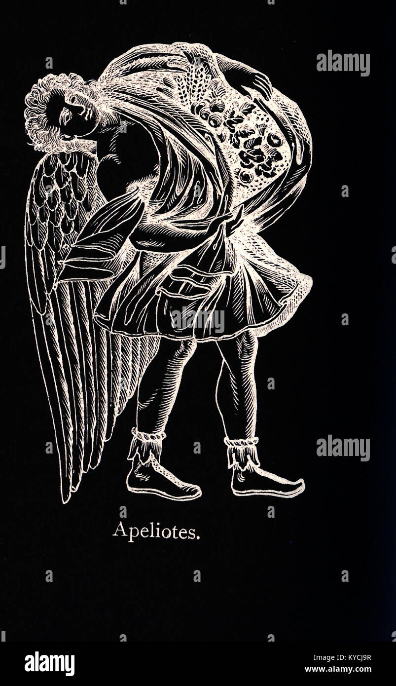 The figure pictured here, according to Greek mythology, is Apeliotes, god of the southeast wind, which was associated - Stock Image