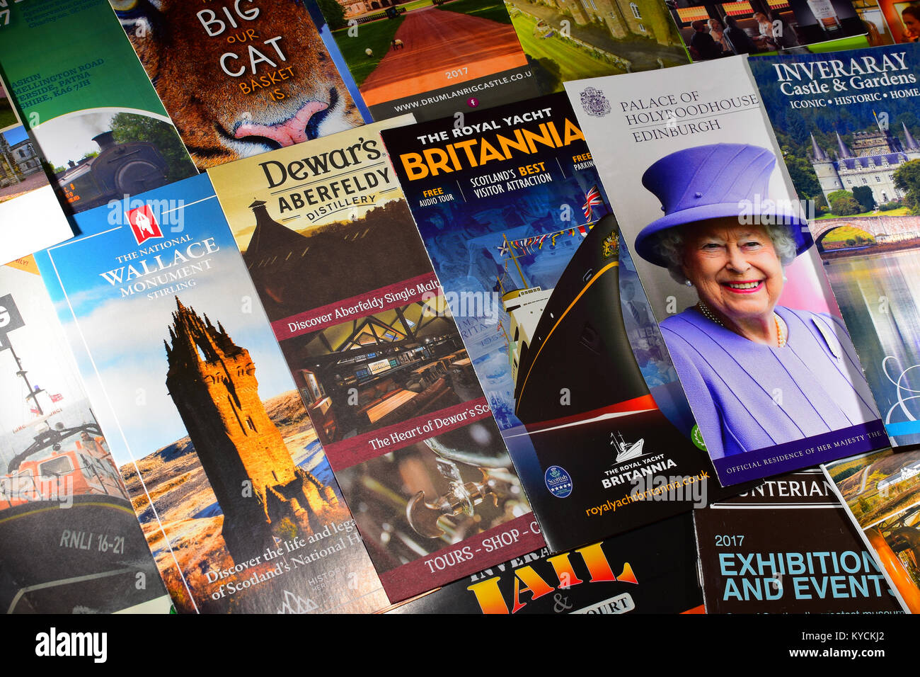 Scottish tourist information leaflets - Stock Image
