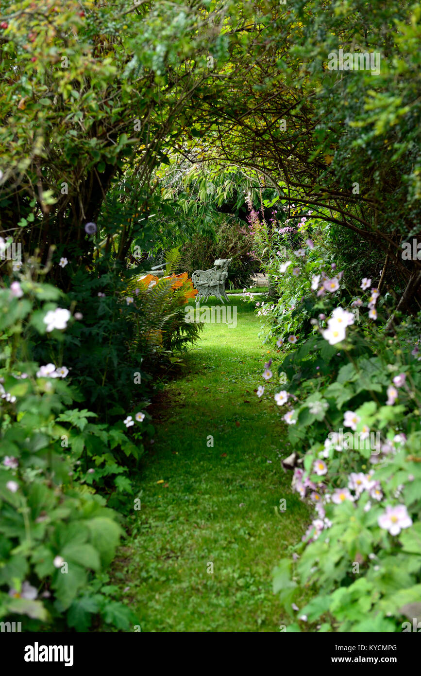 Listoke House, Edwardian garden,gardens,formal,walled,garden,path,pathway,overgrown,lead,leading,seat,seating,secluded,mystery,secret,RM - Stock Image