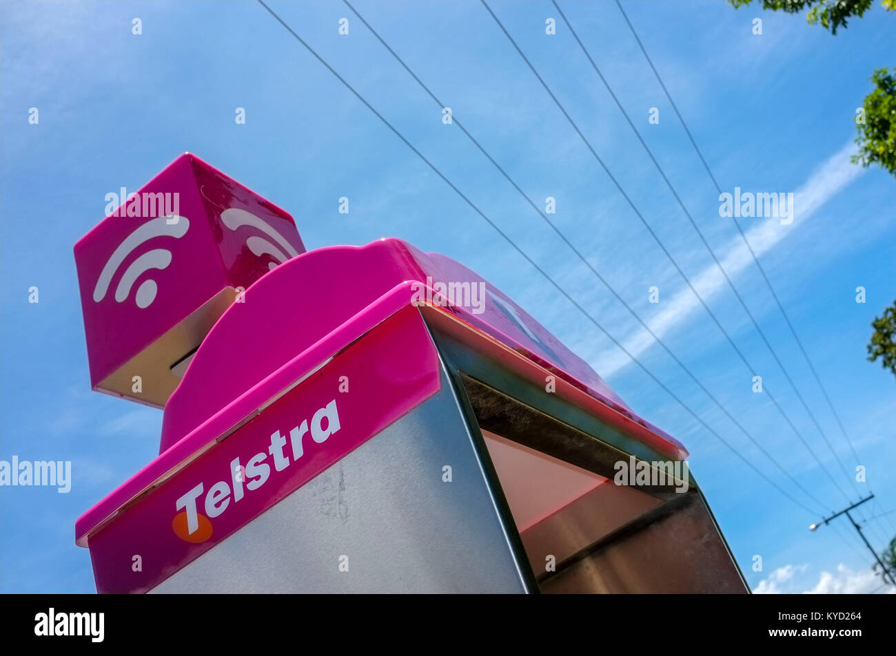 The top of a Telstra public phone booth, which double as a Wi Fi hot spot. - Stock Image