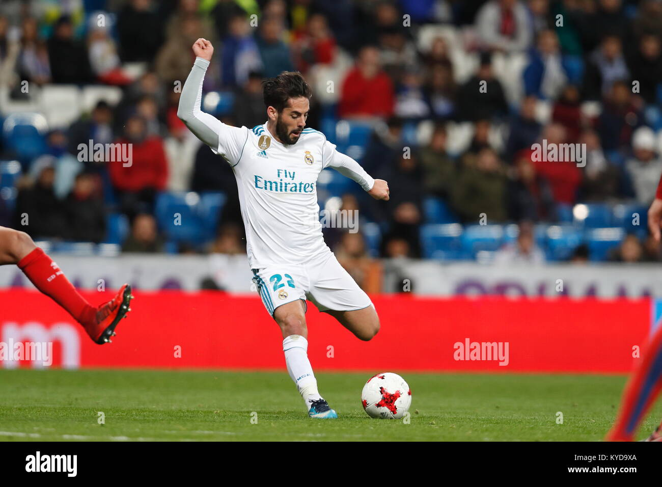 Madrid, Spain. 10th Jan, 2018. Isco (Real) Football/Soccer : Spanish 'Copa del Rey' match between Real Madrid - Stock Image