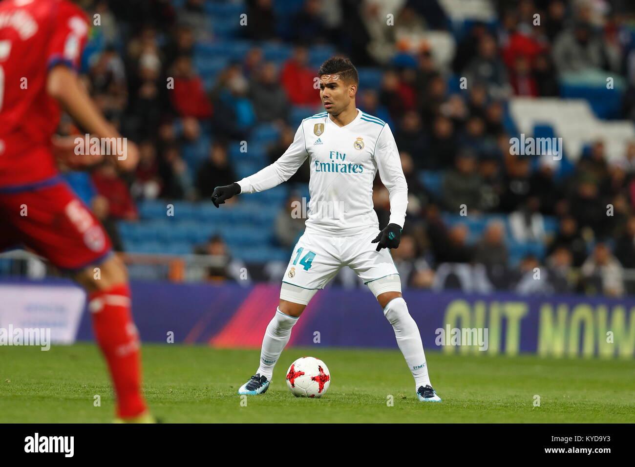 Madrid, Spain. 10th Jan, 2018. Casemiro (Real) Football/Soccer : Spanish 'Copa del Rey' match between Real - Stock Image