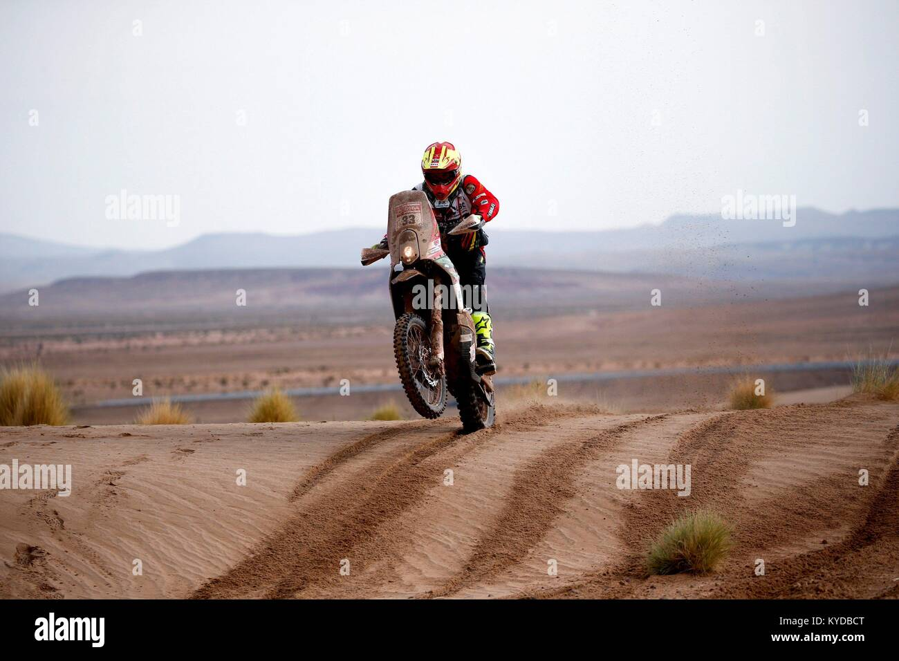 Uyuni, Bolivia. 12th Jan, 2018. The Bolivian Daniel Nosiglia of Husqvarna competes during the eighth stage of the - Stock Image