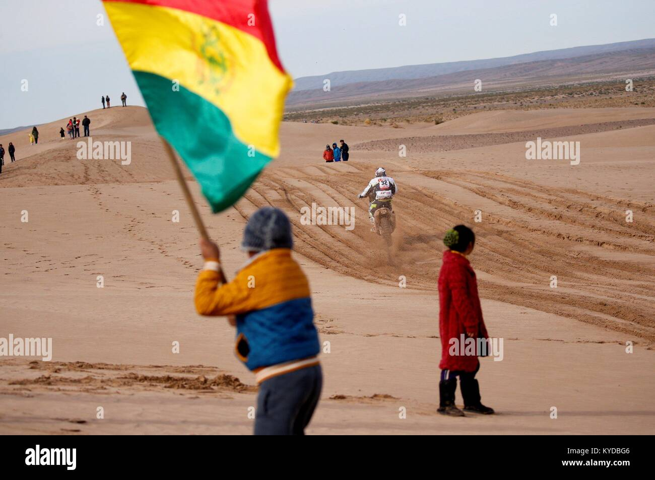 Uyuni, Bolivia. 14th Jan, 2018. Spanish Txomin Arana of Husqvarna competes during the eighth stage of the 2018 Dakar - Stock Image