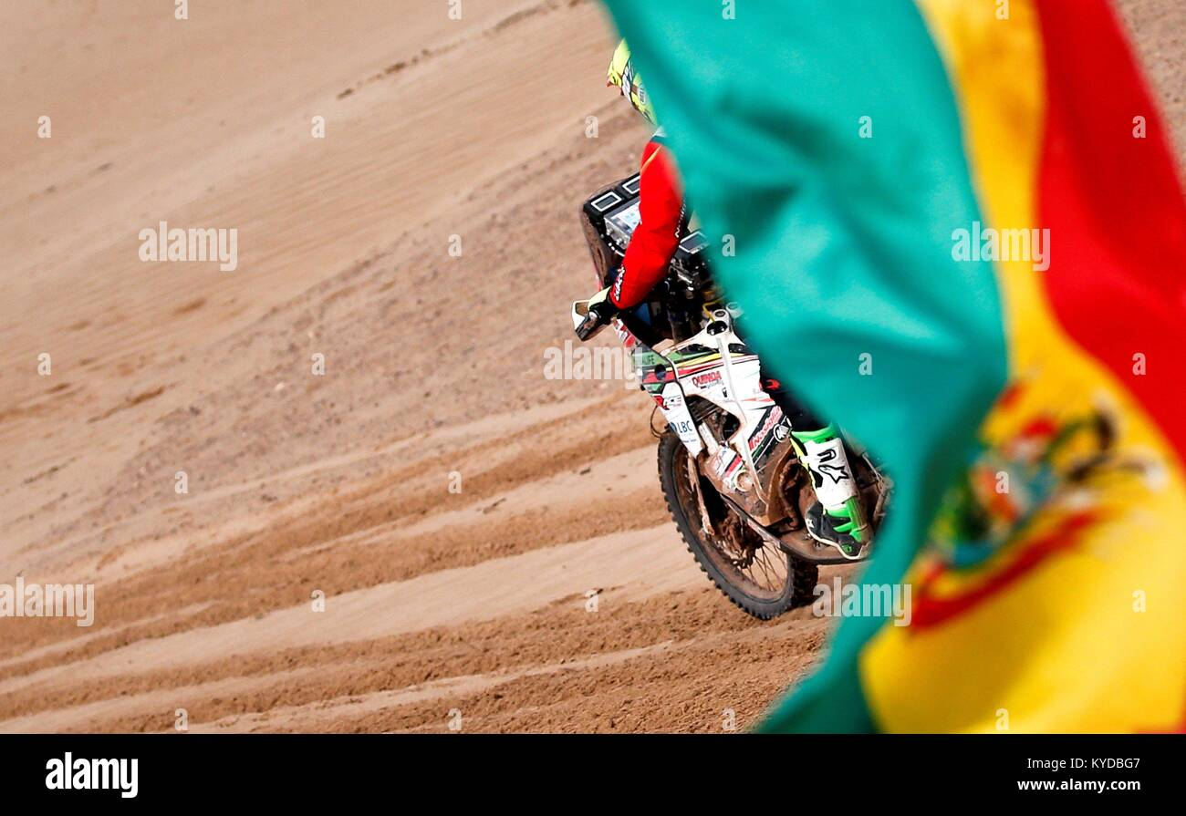 Uyuni, Bolivia. 14th Jan, 2018. Bolivian Daniel Nosiglia of Husqvarna competes during the eighth stage of the 2018 - Stock Image