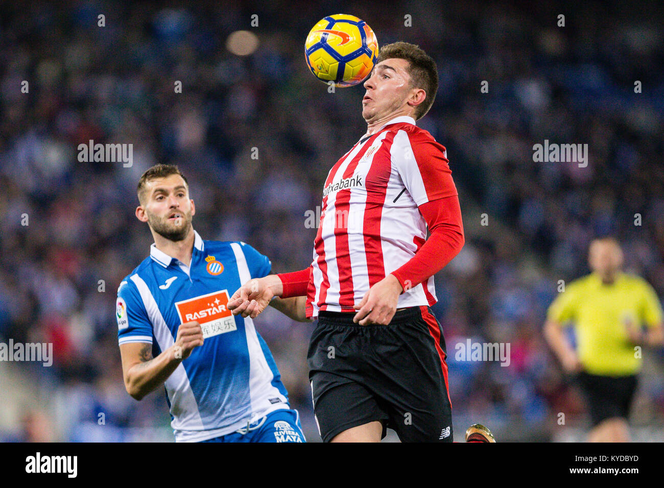 Athletic Club defender Aymeric Laporte (4) during the match between RCD Espanyol v Athletic Club, for the round - Stock Image