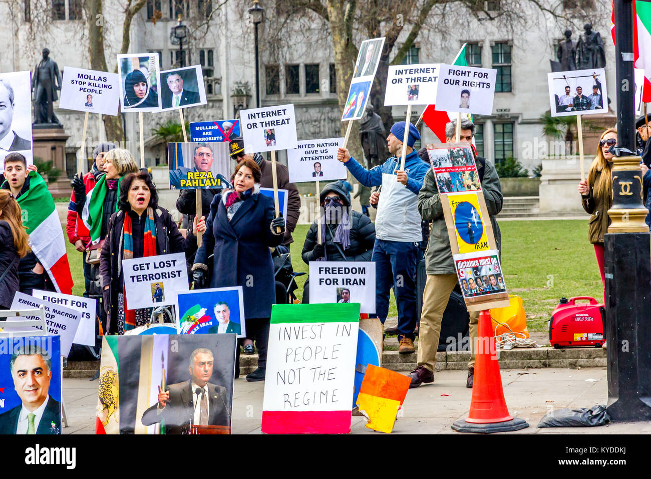 Parliament Square, London, UK. 14th Jan, 2018. Iranian protesters gather opposite the British Parliament building - Stock Image