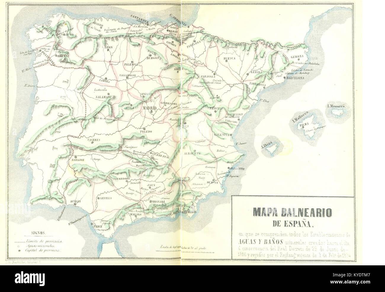 T V 1857 23 Mapa Balneario De Espana En Que Se Comprenden