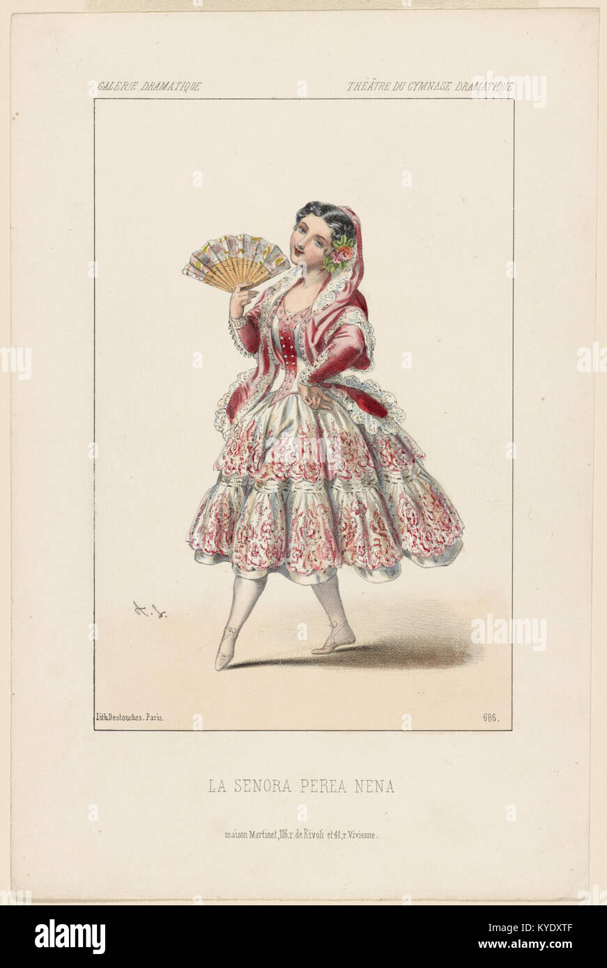 Théâtre du Cymnase (sic) Dramatique. La Senora Perea Nena (NYPL b12149003-5247031) - Stock Image