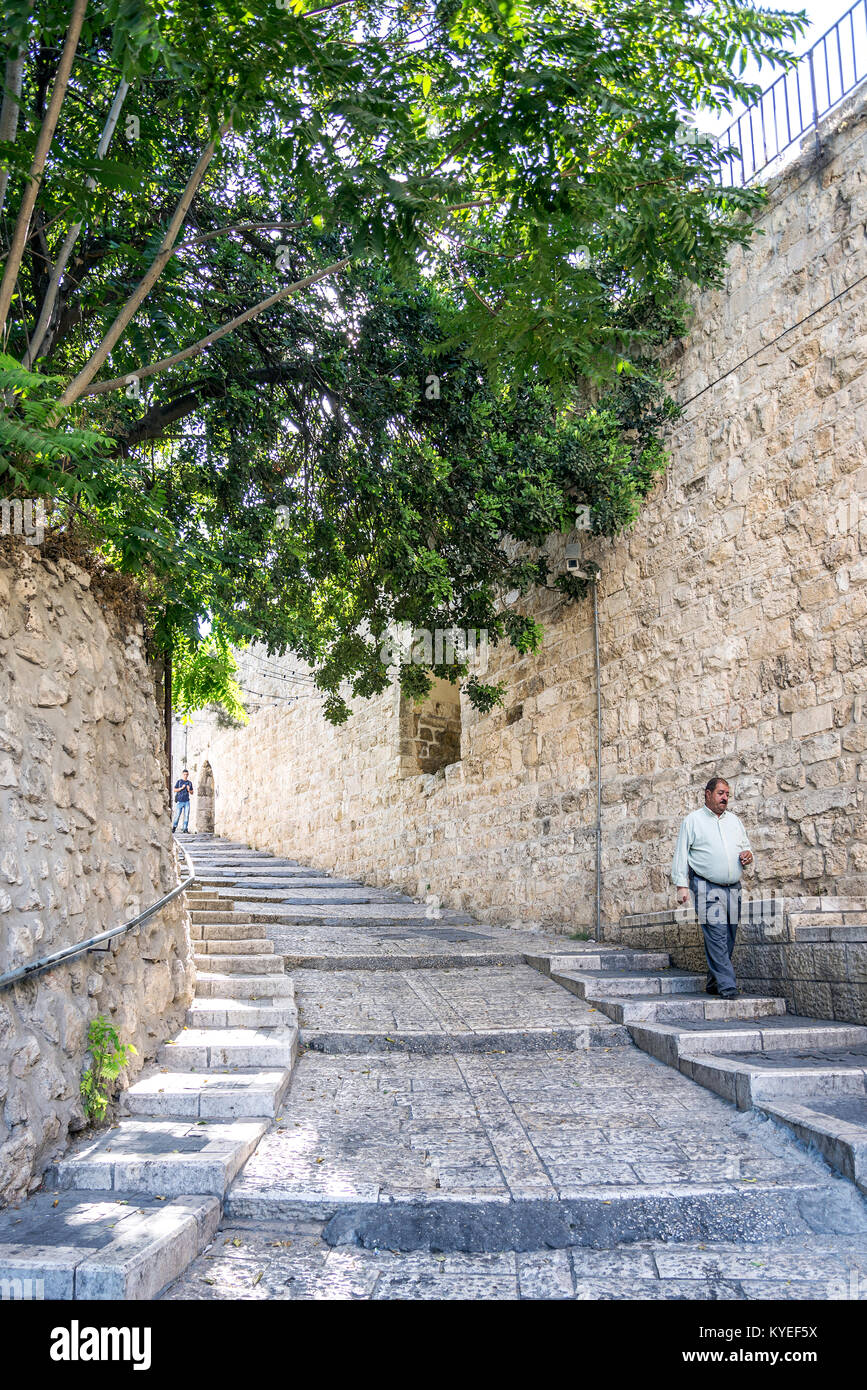 Palestinian People In Old Town Cobbled Street Scene Of Jerusalem City Liberty Leading
