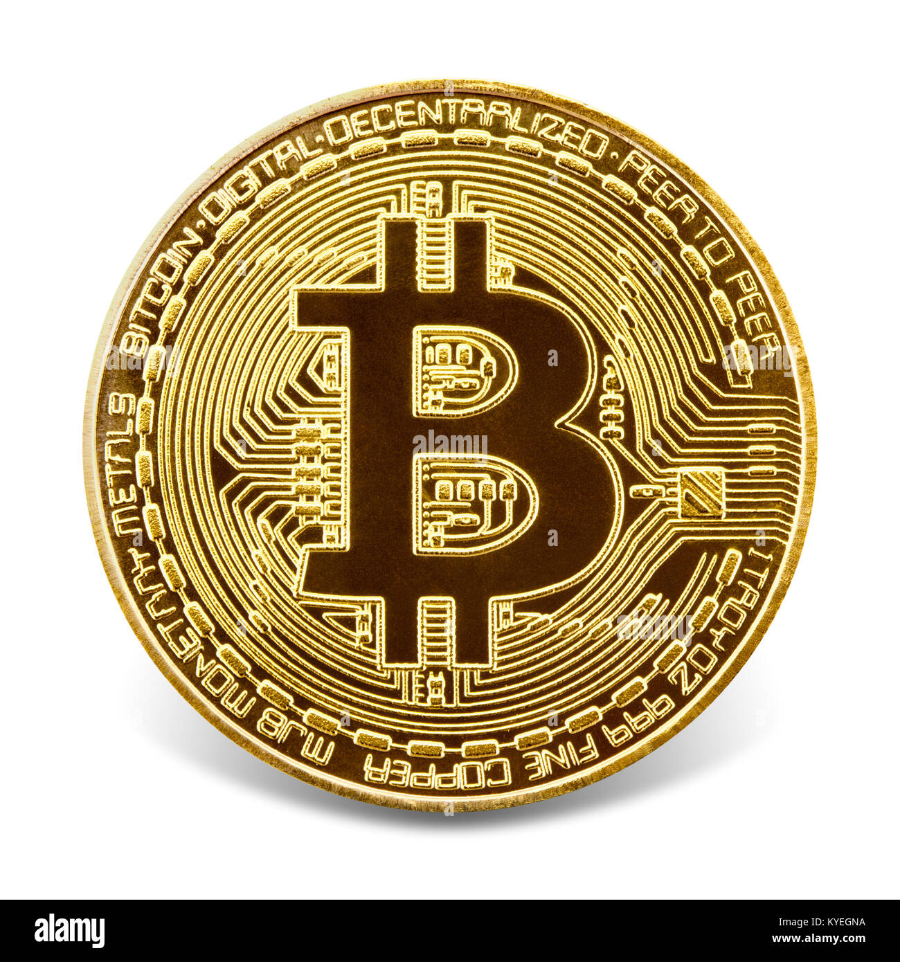 Bitcoin  Golden coin with bitcoin symbol, isolated on the white