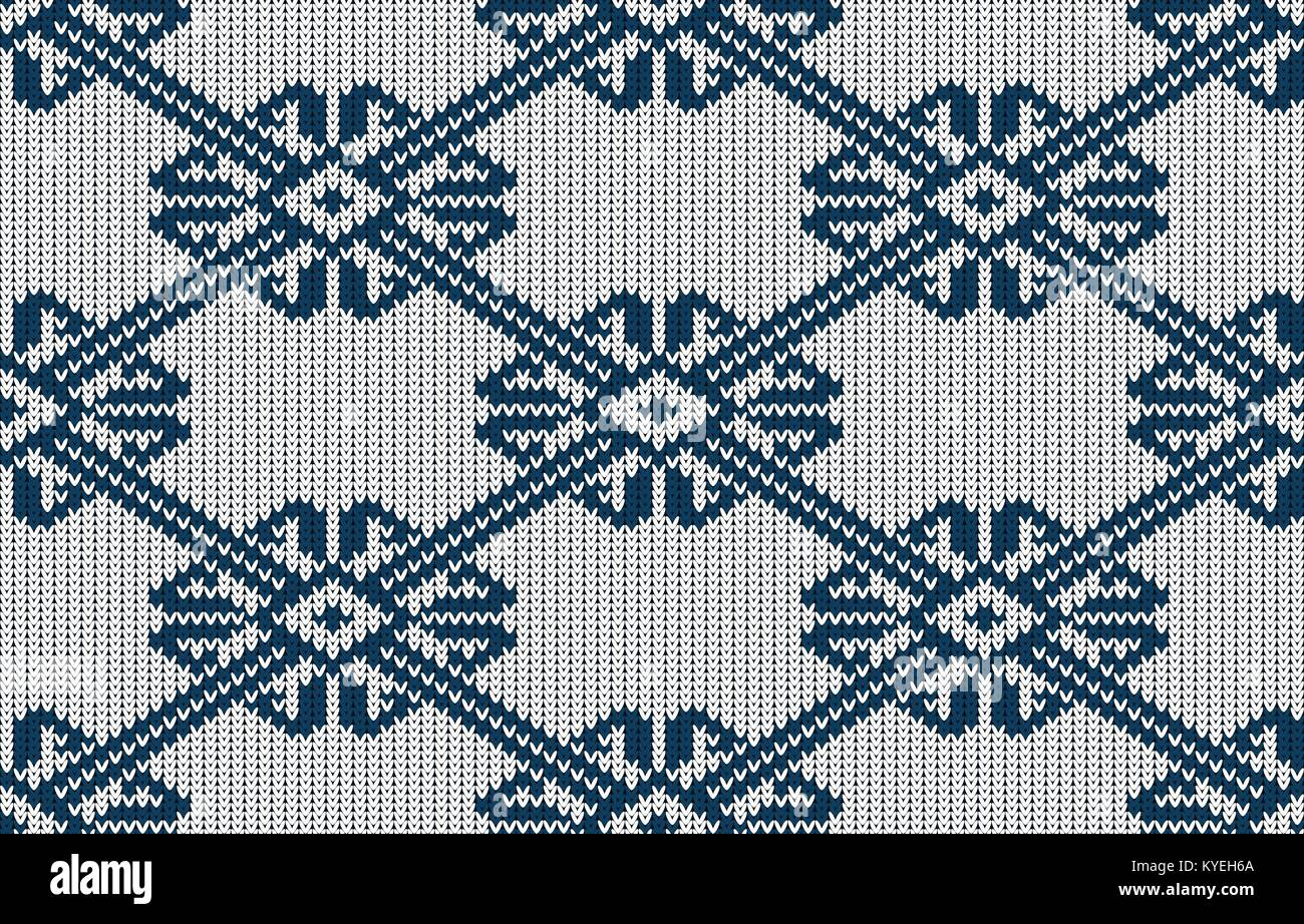 Norwegian knitted blue pattern on a white background. Woolen seamless knitted pattern - Stock Vector