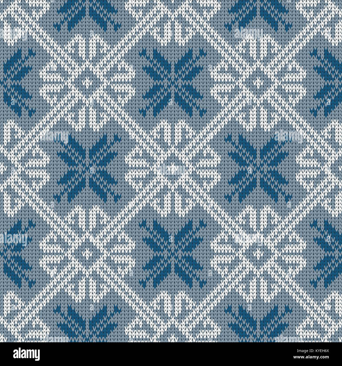 Norwegian knitted pattern with snowflakes in vintage blue color. Woolen seamless knitted pattern Stock Vector