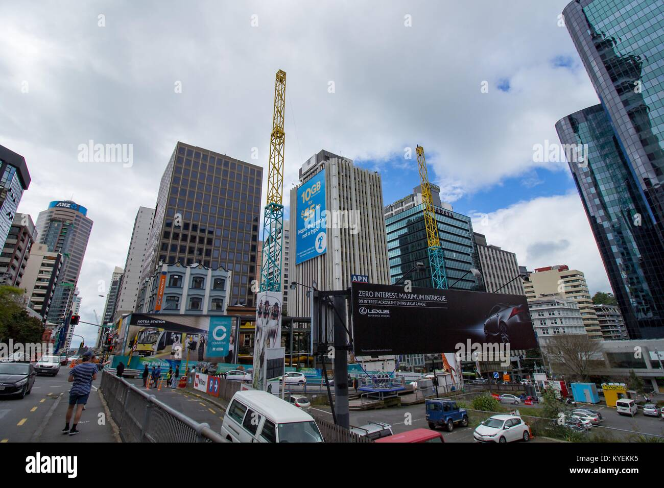 City center and business district viewed from Albert Street in downtown Auckland, New Zealand, October 10, 2017. - Stock Image