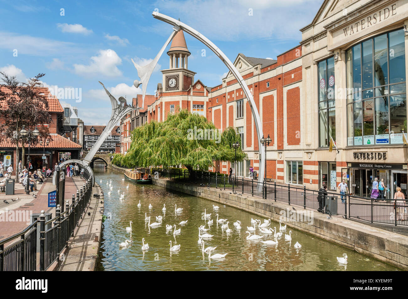 Waterside Shopping Center in the city center of Lincoln, Lincolnshire, England - Stock Image