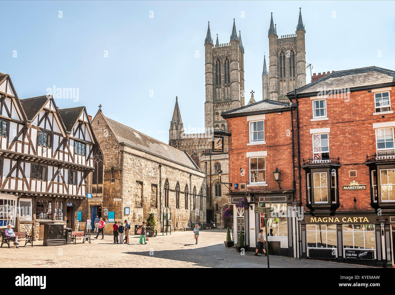 Lincoln Cathedral, in the old town, is a historic Anglican cathedral in Lincoln in England and seat of the Bishop Stock Photo