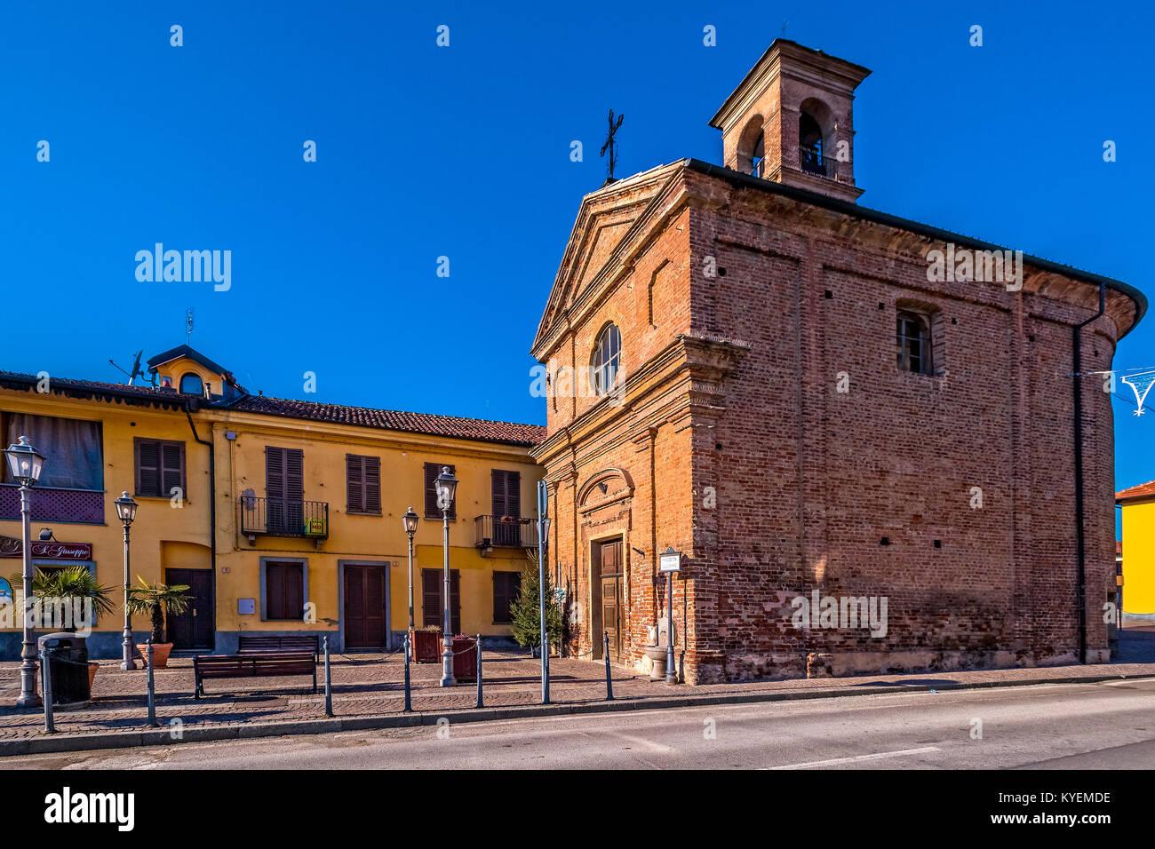 Italy Piedmont Trofarello Piazzetta San Giuseppe - Church San Giuseppe Agonizzante - Stock Image