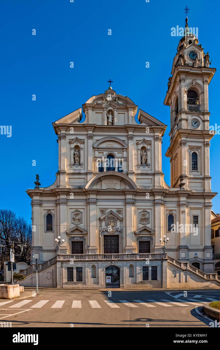 Italy Piedmont Santena Piazza della libertà Parrisch Church SS. Pietro e Paolo - Stock Image