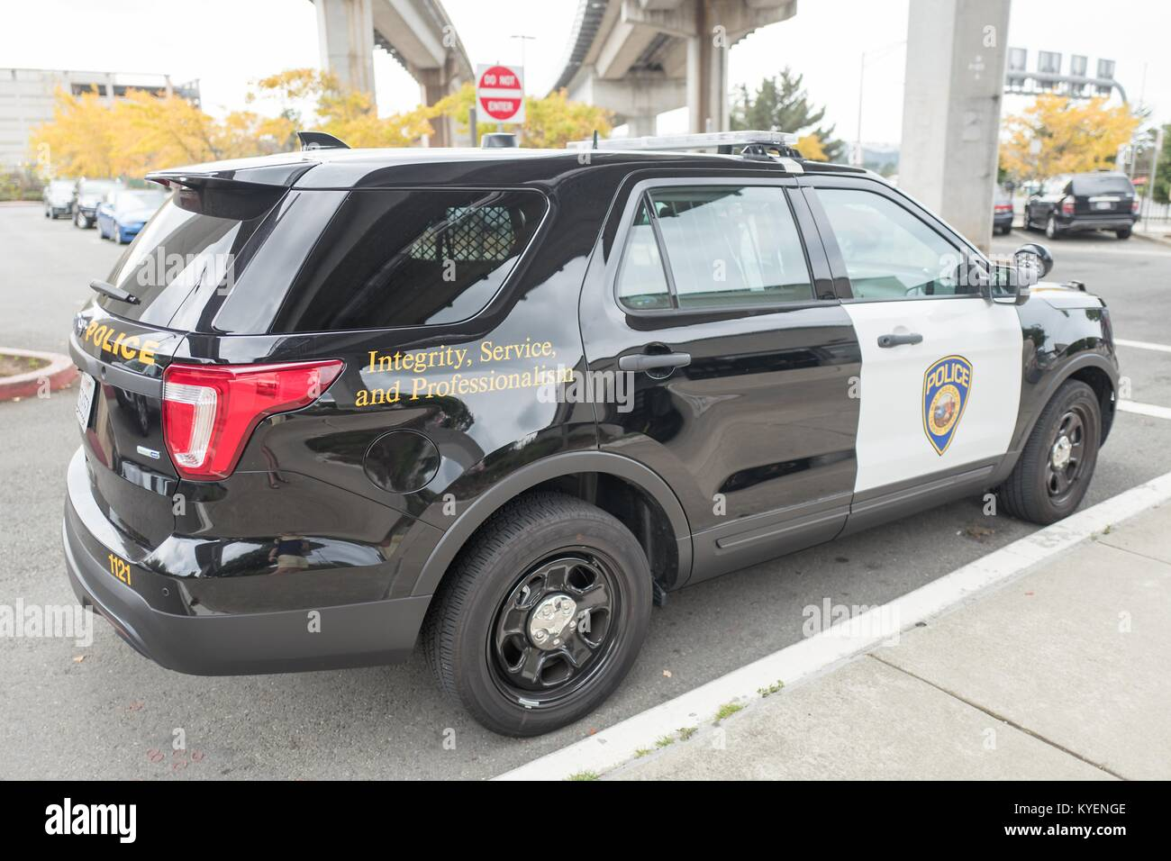 Bay Area Rapid Transit (BART) police vehicle at the Daly City BART station in the San Francisco Bay Area town of - Stock Image