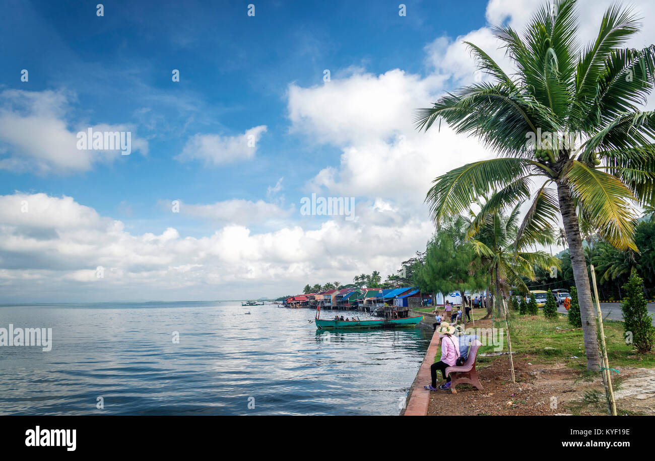 view of famous kep crab market restaurants attraction on cambodia coast - Stock Image